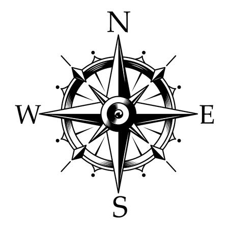 Ilustración de Nautical compass and wind rose concept in vintage monochrome style isolated vector illustration - Imagen libre de derechos