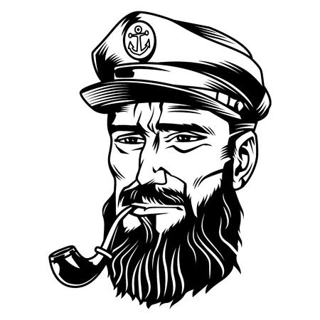 Illustration pour Vintage monochrome bearded sailor smoking pipe isolated vector illustration - image libre de droit