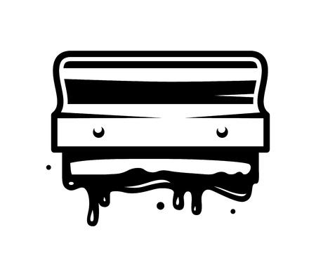Ilustración de Vintage monochrome screen printing queegee template with paint splashes isolated vector illustration - Imagen libre de derechos