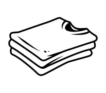Ilustración de Vintage shirts stack side view concept in monochrome style isolated vector illustration - Imagen libre de derechos