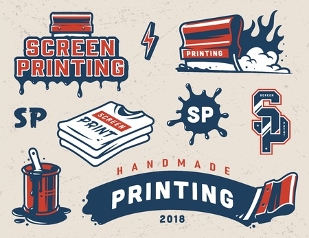 Ilustración de Vintage serigraphy colorful elements collection with industrial squeegees paint splashes shirts letterings isolated vector illustration - Imagen libre de derechos