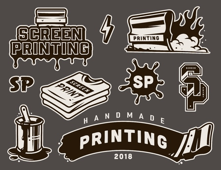 Illustration for Vintage screen printing elements composition with flaming squeegee brush in bucket can shirts inscriptions isolated vector illustration - Royalty Free Image