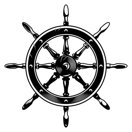 Illustration pour Vintage monochrome ship wheel concept on white background isolated vector illustration - image libre de droit