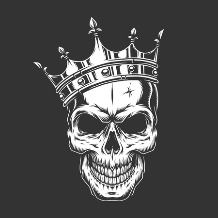 Illustration for Vintage monochrome prince skull in crown isolated vector illustration - Royalty Free Image