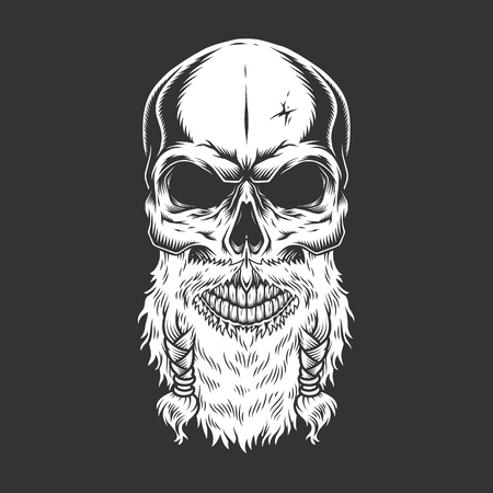 Illustration pour Vintage stern scandinavian skull with beard in monochrome style isolated vector illustration - image libre de droit