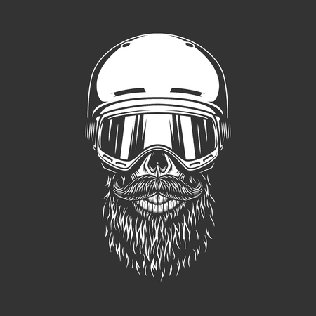 Illustration pour Vintage snowboarder bearded skull wearing helmet and goggles in monochrome style isolated vector illustration - image libre de droit