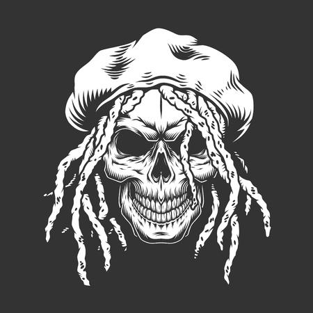 Ilustración de Skull with rastaman hat and dreadlocks in monochrome vintage style isolated vector illustration - Imagen libre de derechos