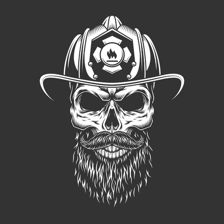 Illustration pour Vintage monochrome firefighter skull in helmet with beard and mustache isolated vector illustration - image libre de droit
