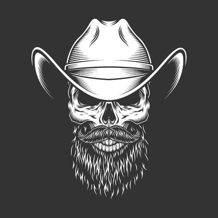 Ilustración de Monochrome skull in cowboy hat with beard and mustache in vintage style isolated vector illustration - Imagen libre de derechos
