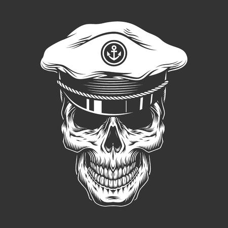 Illustration pour Vintage sea captain skull in monochrome style isolated vector illustration - image libre de droit