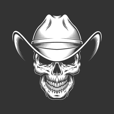 Illustration pour Vintage monochrome skull in cowboy hat isolated vector illustration - image libre de droit