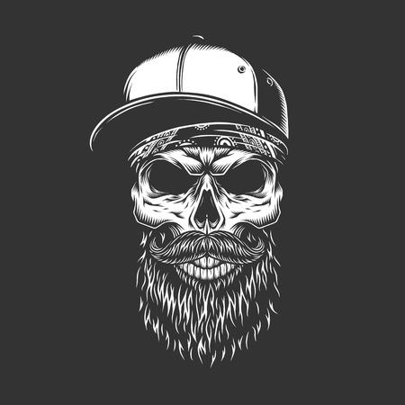 Ilustración de Vintage monochrome bearded and mustached skull in baseball cap and bandana isolated vector illustration - Imagen libre de derechos