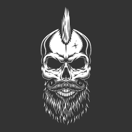 Illustration pour Vintage monochrome male skull with iroquois hairstyle beard and mustache isolated vector illustration - image libre de droit