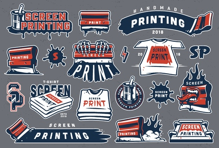 Ilustración de Collection of colorful serigraphy elements with screen printing letterings shirts industrial squeegees brush in bucket can paint splashes isolated vector illustration - Imagen libre de derechos