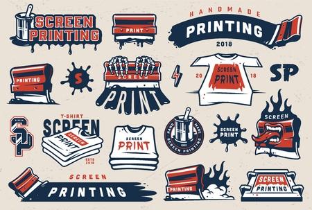 Ilustración de Vintage colorful screen printing elements set with squeegees silkscreen serigraphy logos shirts paint blots isolated vector illustration - Imagen libre de derechos