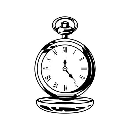 Ilustración de Monochrome retro pocket watches in vintage style isolated vector illustration - Imagen libre de derechos