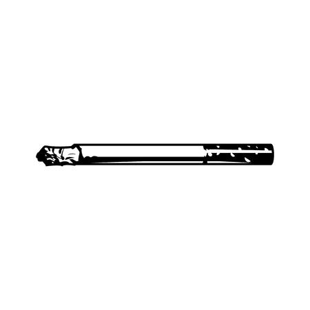 Illustrazione per Vintage smoking cigarette concept in monochrome style isolated vector illustration - Immagini Royalty Free
