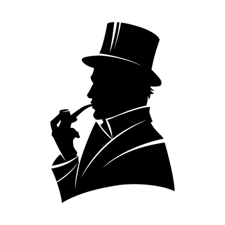 Illustration pour Vintage monochrome gentleman silhouette in top hat smoking pipe isolated vector illustration - image libre de droit