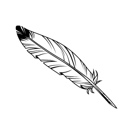 Illustrazione per Vintage monochrome feather pen with ink on white background isolated vector illustration - Immagini Royalty Free