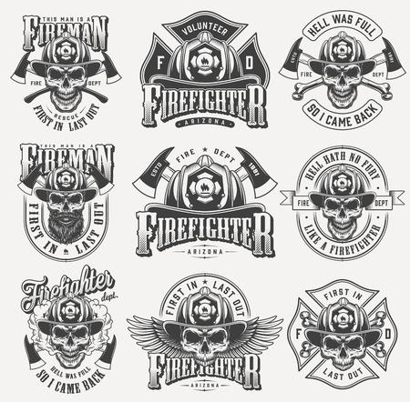 Ilustración de Vintage monochrome firefighting labels set with inscriptions skulls in fireman helmet eagle wings crossed axes bones isolated vector illustration - Imagen libre de derechos
