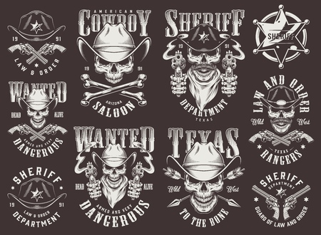Illustration for Vintage wild west set with cowboy and sheriff skulls badge guns arrows bones inscriptions in monochrome style isolated vector illustration - Royalty Free Image