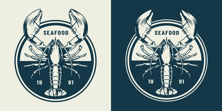 Illustration for Vintage sealife round emblem with lobster in monochrome style isolated vector illustration - Royalty Free Image