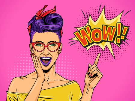 Illustration pour Pop art beautiful surprised lady with purple hair and lips pointing at speech bubble and Wow comic wording vector illustration - image libre de droit