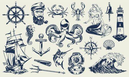 Illustration pour Vintage monochrome nautical elements set with sailor sea animals lighthouse mermaid ship diving helmet anchor compass poseidon trident isolated vector illustration - image libre de droit