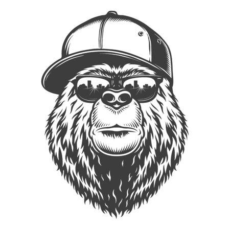 Illustrazione per Vintage monochrome stylish bear head in baseball cap and sunglasses isolated vector illustration - Immagini Royalty Free