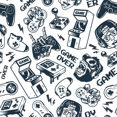 Illustration pour Vintage gaming seamless pattern with joysticks gamepad gorilla in virtual reality headset broken gamepad retro arcade game machine pocket console vector illustration - image libre de droit