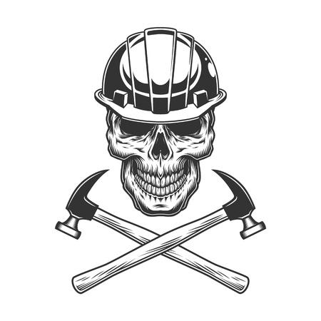 Ilustración de Vintage builder skull with crossed hammers in monochrome style isolated vector illustration - Imagen libre de derechos