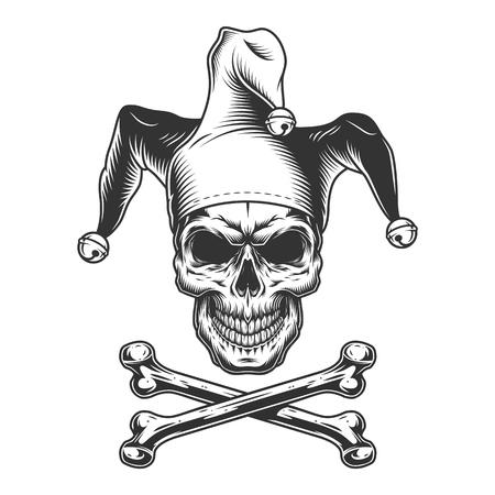 Ilustración de Vintage monochrome jester skull with crossbones isolated vector illustration - Imagen libre de derechos