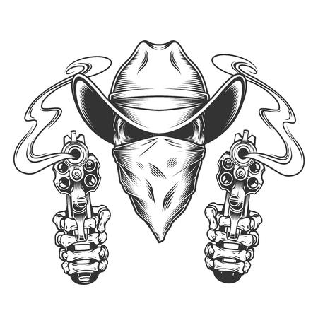 Ilustración de Skull in cowboy hat and scarf with skeleton hands holding pistols in vintage style isolated vector illustration - Imagen libre de derechos