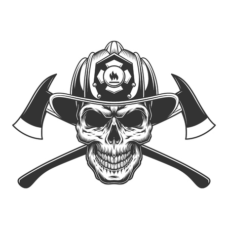 Illustration pour Vintage fireman skull in firefighter helmet with crossed axes in monochrome style isolated vector illustration - image libre de droit