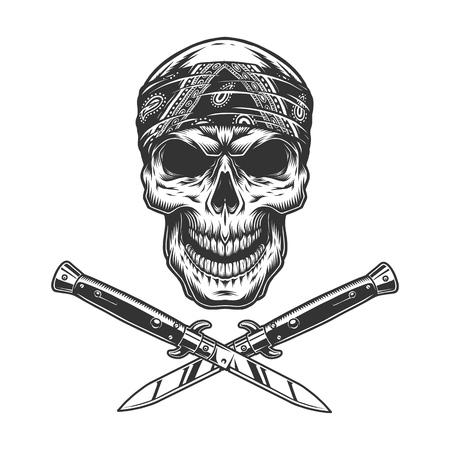 Ilustración de Vintage bandit skull in bandana with crossed knives isolated vector illustration - Imagen libre de derechos