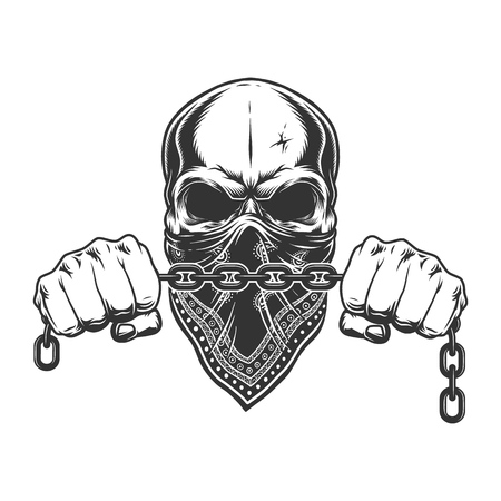 Illustration pour Vintage criminal concept with skull in bandana on face and male hands holding chain isolated vector illustration - image libre de droit