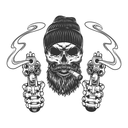 Illustration pour Bearded and mustached gangster skull in beanie hat smoking cigar and skeleton hands holding pistols isolated vector illustration - image libre de droit