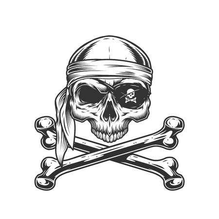 Ilustración de Vintage pirate skull without jaw in bandana and eye patch with crossbones isolated vector illustration - Imagen libre de derechos