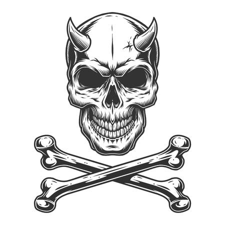 Ilustración de Vintage monochrome demon skull with horns and crossbones isolated vector illustration - Imagen libre de derechos