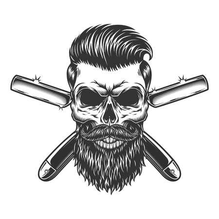 Illustration pour Bearded and mustached barber skull with trendy hairstyle and crossed razors in vintage monochrome style isolated vector illustration - image libre de droit