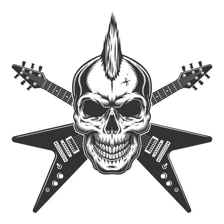 Illustration pour Vintage punk rock star skull with mohawk and crossed electric guitars isolated vector illustration - image libre de droit