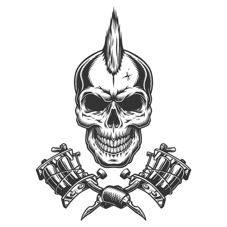 Ilustración de Vintage monochrome tattoo master skull with mohawk and crossed tattoo machines isolated vector illustration - Imagen libre de derechos