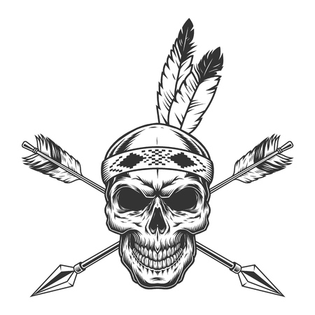 Illustration pour Native american indian warrior skull with feathers and crossed arrows in monochrome vintage style isolated vector illustration - image libre de droit