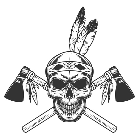 Illustration pour Vintage monochrome indian warrior skull with feathers and crossed tomahawks isolated vector illustration - image libre de droit