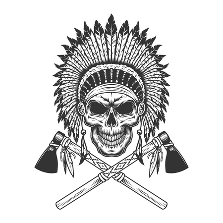 Illustration for Vintage monochrome indian chief skull with feathers headwear and crossed tomahawks isolated vector illustration - Royalty Free Image