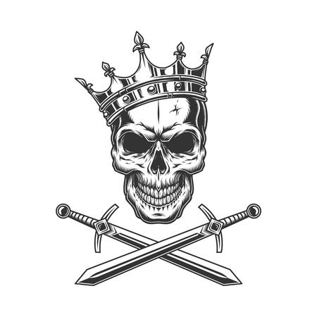 Ilustración de Vintage prince skull in crown with crossed swords isolated vector illustration - Imagen libre de derechos
