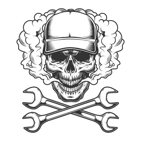 Ilustración de Vintage monochrome skull wearing baseball cap in smoke cloud with crossed wrenches isolated vector illustration - Imagen libre de derechos