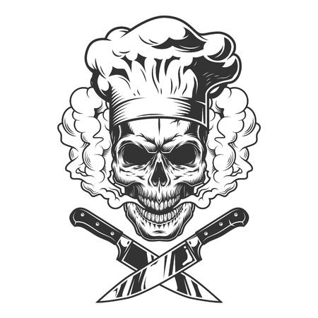 Ilustración de Chef skull in smoke cloud with crossed knives in vintage monochrome style isolated vector illustration - Imagen libre de derechos