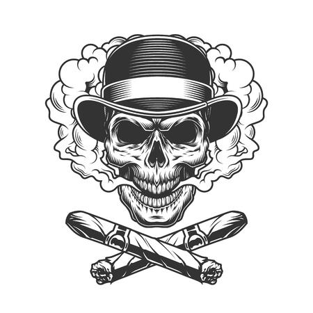 Ilustración de Vintage gentleman skull in fedora hat with crossed cuban cigars isolated vector illustration - Imagen libre de derechos