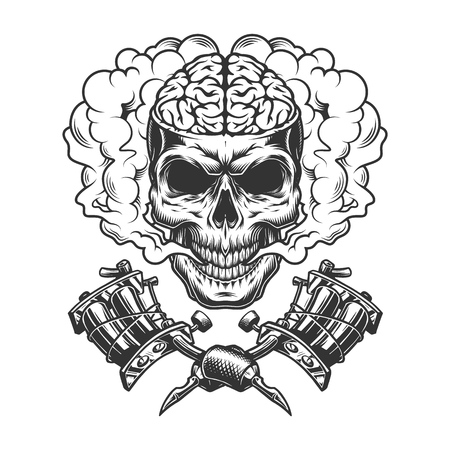 Illustration pour Vintage monochrome skull with human brain in smoke cloud with crossed tattoo machines isolated vector illustration - image libre de droit